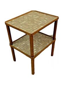 2 Martz Marshall Vtg Mid Century Modern Wood Pottery Tile Side End Coffee Table