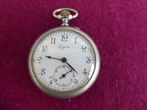 Taschenuhren Longines, um 1900 art deko, Metall Gehäuse, Uhr geht. Durchm. 50mm