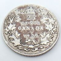 1929 Canada 25 Twenty Five Cents Quarter Silver King George V Canadian Coin G763