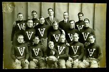V.A.S. FOOTBALL TEAM 1912 Photo Postcard Padded pants Boy mascot