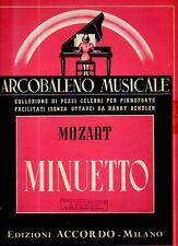 SPARTITO Mozart Minuetto - H. Bendler pianoforte - Ediz. Accordo