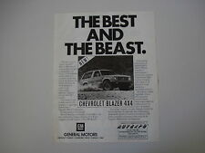advertising Pubblicità 1983 CHEVROLET BLAZER 4X4