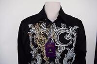 New Men's Atti Fashion Legendary Print Casual Party Black Long Sleeves Shirt XL