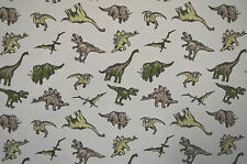 JURASSIC DINOSAUR PRINT FABRIC ON WHITE SINGLE JERSEY STRETCH MATERIAL
