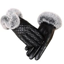 Women's Winter Genuine Sheepskin Leather Gloves Real Rex Rabbit Fur Thick W C3x8
