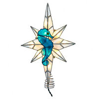"10"" Kurt Adler Lighted Seahorse Ocean Beach Christmas Capiz Tree Topper Star"