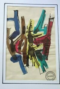 JAN DARNA ABSTRAIT PEINTRE CORSE ECOLE DE PARIS AQUARELLE ORIGINALE VERS 1960