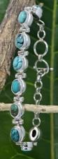 Handmade Sterling Silver .925 Bali 9x Oval Turquoise Bracelet w Toggle.  #1