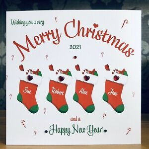 Handmade Personalised Christmas Card Any number of stockings Family Friends 🌲