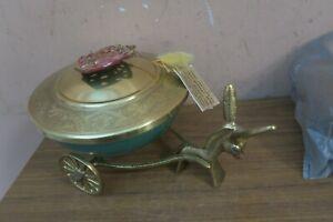 Vintage Tamar Israel Passover Brass Enamel Donkey Cart Covered Dish Bowl