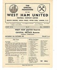 West Ham v Crystal Palace Reserves Programme 12.10.1957 Football Combination