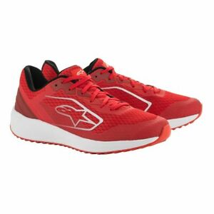 Alpinestars Meta Road Shoes Motorsport Pit Crew Casual Trainers Red & White