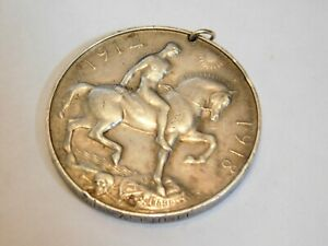 ANTIQUE SOLID SILVER 1ST WORLD WAR BRITISH OFFICERS ISSUED MEDAL