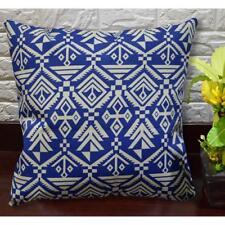 AL265a Blue Cream Geometric Print Cotton Canvas Pillow/Cushion Cover Custom Size