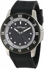 NEW Ed Hardy Watches RM-BK Men's Roman Watch Black Silicone Band White Accents