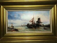 Dutch Antique 19th Century Maritime Oil Painting Fishing Ships Harbour Windmill