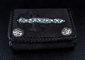 NEW BLACK GOTHIC CROSS GENUINE STINGRAY LEATHER 925 STERLING SILVER SNAP WALLET