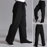 Men Pants Solid Tai Chi Trousers Kung Fu Martial Arts Sports Fit Retro Casual