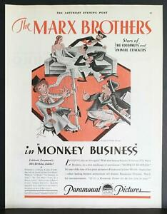1931 Monkey Business Marx Brothers Paramount Pictures Movie Vintage Ad