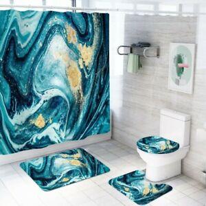 Teal Blue Marble Waterproof Shower Curtain Anti Slip Rug Toilet Seat Cover Set