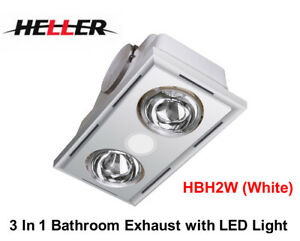 Heller 3 in1 Bathroom /Ensuite Ceiling Exhaust+LED Light+Wall Switch-HBH2W-WHITE