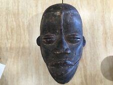 """Antique African art hand carved wood mask slit eyes flat nose 11.5"""""""