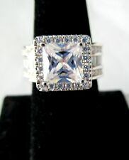 HUGE Princess Cut Sparkling Ice CZ Sterling Silver Ring Size 7