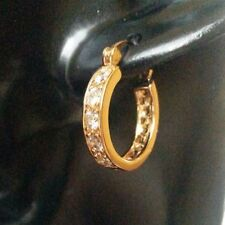 B08. Plum UK 18k gold filled creole hoop earrings, sim diamonds, 22x20x4mm BOXED