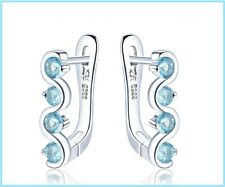 Blue Topaz Clip Earrings Natural Gemstone Solid 925 Sterling Silver Fine Jewelry