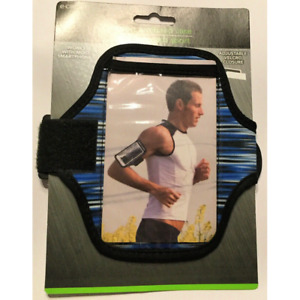 cell phone sport armband case gym workout running track cycling blue black new