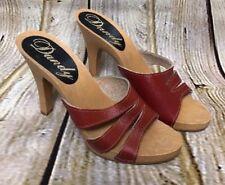 Vintage Dandy Red Leather Women's 6 M High Heel Sandal Open Toe BOHO Festival
