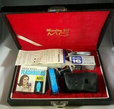 Minolta 16 MG Subminiature Spy Camera Film Flashbulbs Hard Case Key