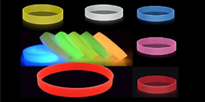 x 5 GLOW IN THE DARK SILICON WRISTBAND - ADULT SIZE Yellow