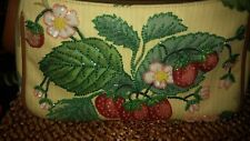 "Isabella Fiore Beaded Strawberry Floral Multicolor Baguette Handbag 11"" x 6.5"""