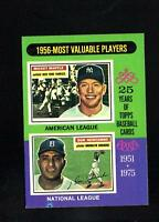 1975 Topps # 194 1956 MVP Mantle Newcombe NM