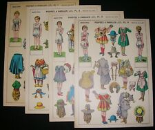 POUPEES A HABILLER CUT OUT FRENCH PAPER DOLLS SET (4) EARLY 1900's LITHOGRAPHED?