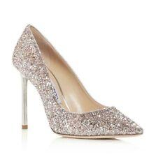 NEW Jimmy Choo Women's Romy 100 Glitter Pointed-Toe Pumps, Pink, Size 37 / 6.5