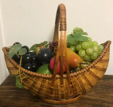 Vintage Faux Fake Fruit In Basket - Grapes, Pear, Plum, Lime, Apple