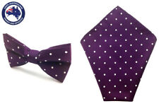 Mens Purple & White Polka Dots Bowtie Pocket Square Wedding Bowtie Hanky Set