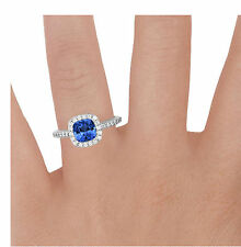 14K White Gold Cushion Cut 2.00Ct Real Diamond Solitaire Real Blue Sapphire Ring