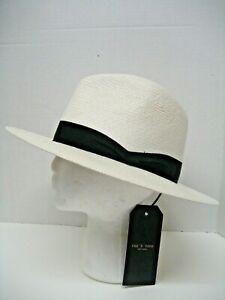 $230 NEW Rag & Bone Women White Grosgrain Black Band Straw Panama Sun Hat Sz M/L