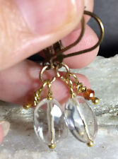 Petite Rock Crystal Clear Quartz HESSONITE Solid Bronze & Brass Oxid Leverbacks