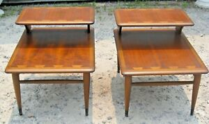 Pair of Lane Mid-Century Modern Dovetail Inlaid Step Side End Tables 0900-07