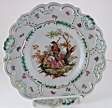 Cabinet Plate Porzellan Imperial Germany Bavaria Courtship HP Scalloped Edge