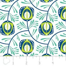 """Camelot Cottons- Peacock Garden White Feathers Cotton Fabric BytheYd 44"""" W    H4"""