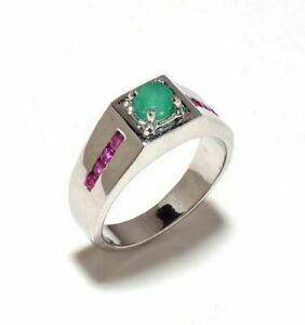 Natural Emerald & Ruby Gem Stone Men's Ring 925 Sterling Silver Jewelry Us 7 8