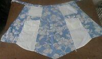 1960s Apron Half Handmade Blue White Floral Kitchen Linens Vintage Free Shipping