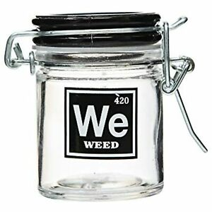 "Airtight Glass Herb Stash Jar -""WEED"" Medical Design, 1.5oz, 2.5 Inches"