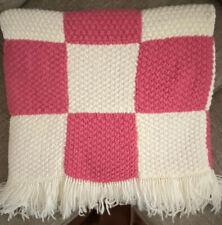 "VIntage Pink Handmade Knit Crochet Granny Square Fringe Afghan Throw 75"" x 45"""
