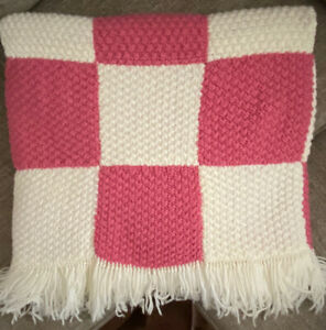 "VIntage Pink Handmade Crochet Knit Granny Square Fringe Afghan Throw 75"" x 45"""